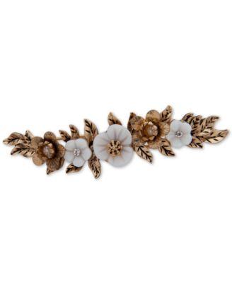 Gold-Tone Crystal & Imitation Pearl Flower Hair Clip