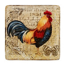 Gilded Rooster Square Platter