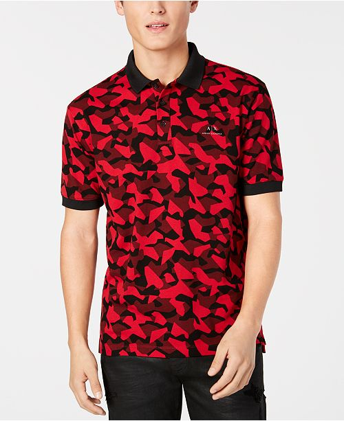 a62d7ffb A|X Armani Exchange Men's Red & Black Camo Polo, Created for ...