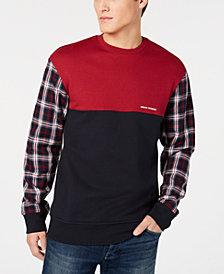 A|X Armani Exchange Men's Colorblocked Plaid Sleeve Sweatshirt