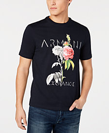A|X Armani Exchange Men's Floral Logo Print T-Shirt, Created for Macy's