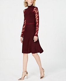 I.N.C. Lace-Sleeve Sweater Dress, Created for Macy's
