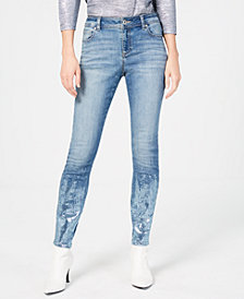 I.N.C. Curvy Denim Skinny Jeans with Foil Hem, Created for Macy's