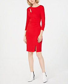 I.N.C. Ruched 3/4-Sleeve Bodycon Dress, Created for Macy's
