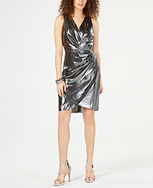 I.N.C. Ruched Foil Surplice Dress, Created for Macy's
