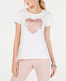 I.N.C. Cotton Sequin Heart T-Shirt, Created for Macy's