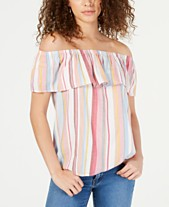 df6d6ce3f80 I.N.C. Ruffled Rainbow Off-The-Shoulder Top, Created for Macy's