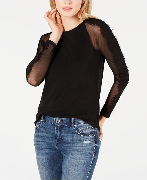 INC International Concepts I.N.C. Petite Lace-Trim Illusion Top, Created for Macy's