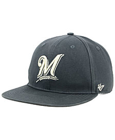 '47 Brand Milwaukee Brewers Garment Washed Navy Snapback Cap