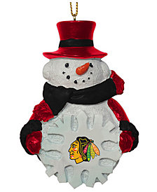Memory Company Chicago Blackhawks Snowflake Snowman Ornament
