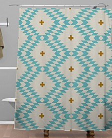 Holli Zollinger Native Natural Plus Turquoise Shower Curtain