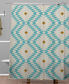 Deny Designs Holli Zollinger Native Natural Plus Turquoise Shower Curtain