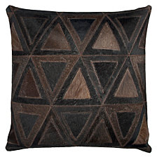 "Rizzy Home Black 20"" X 20"" Geometric Pattern Leather Pillow"