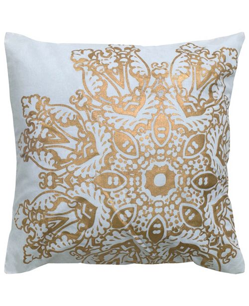 """Rizzy Home 18"""" x 18"""" Medallion Foil Print Poly Filled Pillow"""