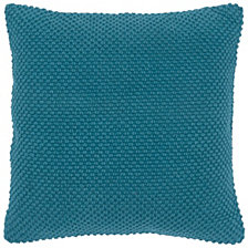 "Rizzy Home Solid Blue 20"" X 20"" Poly Filled Pillow"