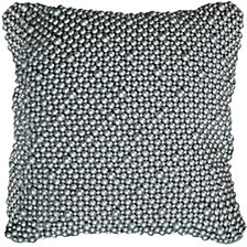 Rizzy Home Silver  Hand Beaded Poly Filled Pillow