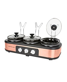 HomeCraft 3-Station 1.5-Quart Oval Slow Cooker Buffet - Copper