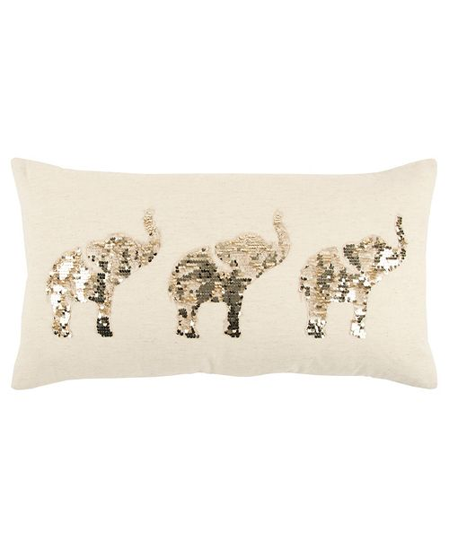 """Rizzy Home 14"""" x 26"""" Elephants Poly Filled Pillow"""
