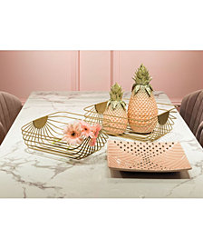 Set Of 2 Wired Trays Gold Gold