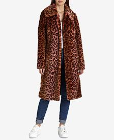 Avec Les Filles Faux-Fur Leopard-Print Coat