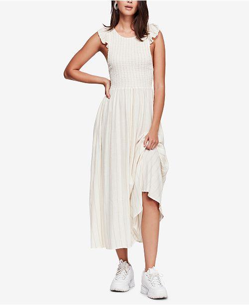 Chambray Butterflies Cotton Maxi Dress