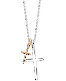 "Unwritten Two Cross Pendant Necklace in Sterling Silver & Rose Gold-Flash, 16""+2"""