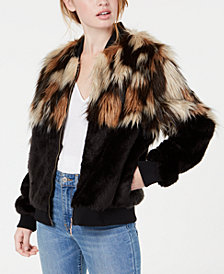Say What? Juniors' Mixed Faux-Fur Bomber Jacket