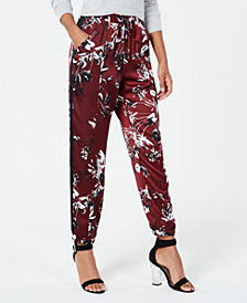 Material Girl Juniors' Printed Side-Striped Jogger Pants, Created for Macy's