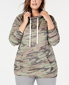 Derek Heart Plus Size Printed Cowl-Neck Sweatshirt
