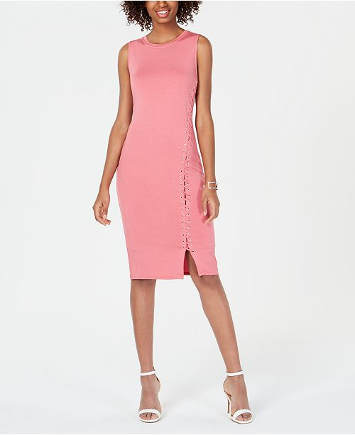 Material Girl Juniors' Lace-Up Bodycon Dress, Created for Macy's