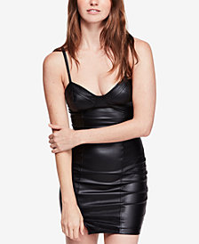 Free People Say No More Faux-Leather Bodycon Dress