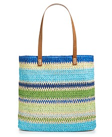 "CLOSEOUT! Martha Stewart Collection Straw 17"" x 14.8"" Beach Tote, Created for Macy's"