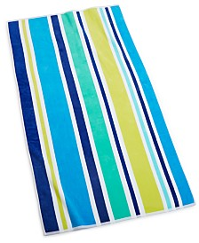 "CLOSEOUT! Martha Stewart Collection Vacation Stripe 38"" x 68"" Beach Towel, Created for Macy's"