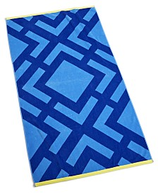 "CLOSEOUT! Martha Stewart Collection Diamond Geo 38"" x 68"" Beach Towel, Created for Macy's"