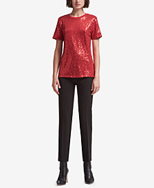 DKNY Sequin Embellished Crew-Neck T-Shirt