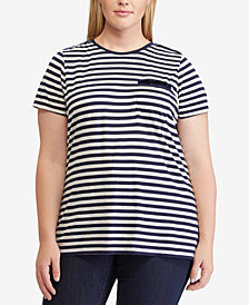 Lauren Ralph Lauren Plus Size Striped Pocket T-Shirt