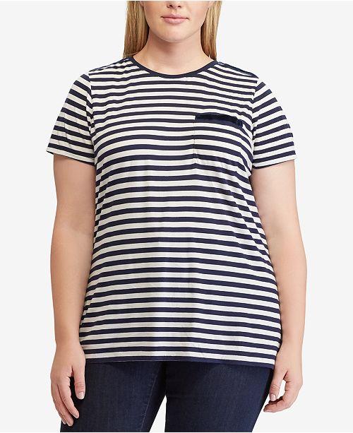 0d73e9be Lauren Ralph Lauren Plus Size Striped Pocket T-Shirt - Tops - Plus ...