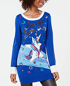 Hooked Up by IOT Juniors' Sequined Tunic Sweater