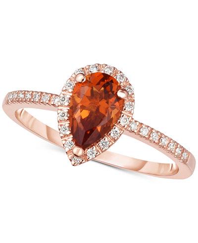 Citrine (3/4 ct. t.w.) & Diamond (1/8 ct. t.w.) Ring in 14k Rose Gold