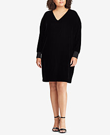 Lauren Ralph Lauren Plus Size Velvet V-Neck Dress