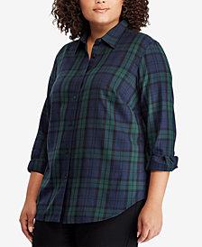 Lauren Ralph Lauren Plus Size Tartan Cotton Shirt