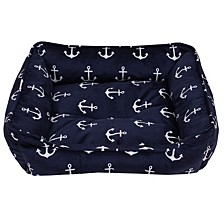 Retro Anchors Printed Micromink Cuddler Dog Bed