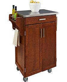 Home Styles Cuisine Cart Warm Oak Finish Stainless Top