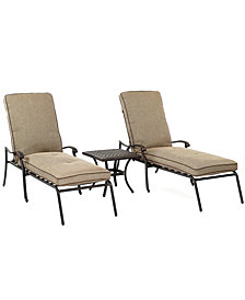 CLOSEOUT! Grove Hill Outdoor Cast Aluminum 3-Pc. Chaise Set (2 Chaise Lounge, Created for Macy's and 1 End Table), Created for Macy's
