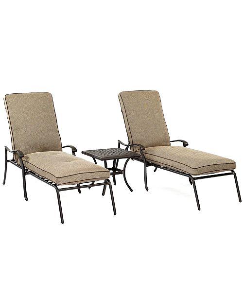 Furniture Closeout Grove Hill Outdoor Cast Aluminum 3 Pc Chaise Set 2