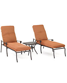 Chateau Outdoor Cast Aluminum 3-Pc. Chaise Set (2 Chaise Lounge and 1 End Table), Created for Macy's