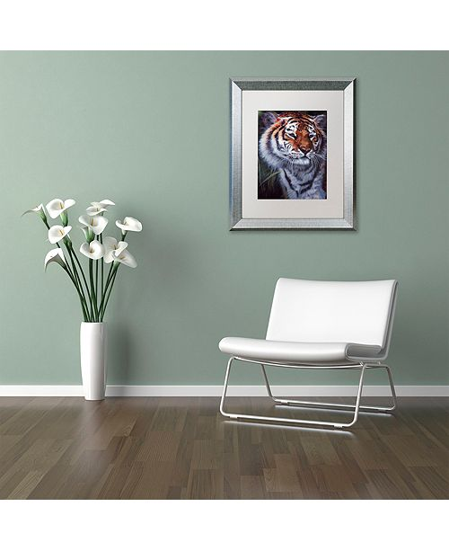 "Trademark Global Jenny Newland 'Tiger In The Midst' Matted Framed Art, 16"" x 20"""