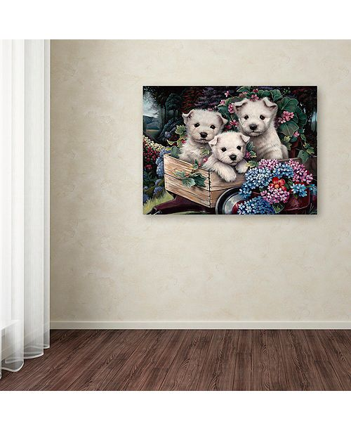"Trademark Global Jenny Newland 'Lovable Westies' Canvas Art, 14"" x 19"""