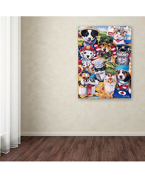 "Trademark Global Jenny Newland 'Working Paws' Canvas Art, 24"" x 32"""