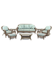 Sandy Cove Outdoor Wicker 8-Pc. Seating Set (1 Sofa, 1 Club Chair, 1 Swivel Glider, 2 Ottomans, 1 Coffee Table, and 2 End Tables), Created for Macy's